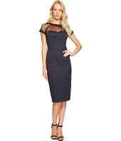 Maggy London - Tossed Leaf Jacquard Illusion Dress