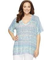 Nally & Millie - Plus Size V-Neck Printed Tunic