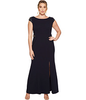 Adrianna Papell - Plus Size Cap Sleeve Knit Mermaid Gown w/ Beaded Shoulder and Waist