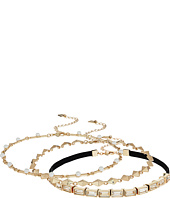 Steve Madden - 3 Piece Velvet Cast Stone/Chain Chokers Necklace