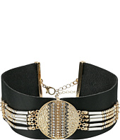 Steve Madden - Black Leather with Silver/Gold Beaded Choker Necklace