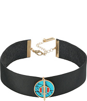 Steve Madden - Black Leather Choker with Round Green Stone Charm Necklace