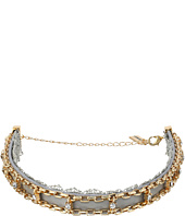 Steve Madden - Grey Lace/Leather/Chain Cast Stone Choker Necklace