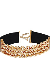 Steve Madden - Interlocking Link Suede Straps Choker Necklace