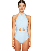 Jonathan Simkhai - Pinstripe-Halter Snap Front One-Piece