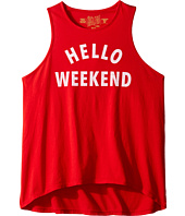 The Original Retro Brand Kids - Hello Weekend White Print (Big Kids)