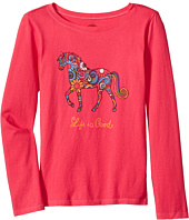 Life is Good Kids - Flower Swirl Horse Long Sleeve Crusher Tee (Little Kids/Big Kids)