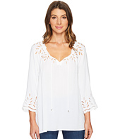 Tribal - On or Off the Shoulder Blouse w/ Eyelet Detail