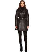 Kate Spade New York - Quilted Tortoise Bow Buckle Double-Breasted Jacket