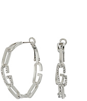 GUESS - Frozen Chain Link Hoop Earrings with Crystal