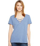 Michael Stars - Supima Cotton Slub Short Sleeve Lace-Up Tee