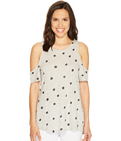 TWO by Vince Camuto - Short Sleeve Polka Dot Touches Cold Shoulder Tee
