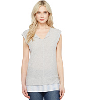 TWO by Vince Camuto - Split-Neck Knit Tee w/ Seersucker Shirttail