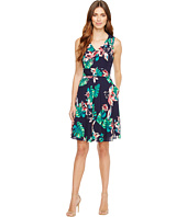 Tahari by ASL - Palm Print Tie-Waist A-Line Dress