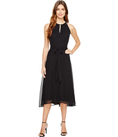 Tahari by ASL - Chiffon Tea-Length Keyhole Neck Dress