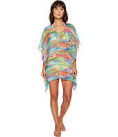 LAUREN Ralph Lauren - Ikat Stripe Crinkle Poly Chiffon Laced Tunic Cover-Up