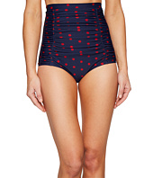Unique Vintage - Monroe High Waisted Ruched Swim Bottoms