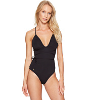 MICHAEL Michael Kors - Solids Wrap Shirred Neck One-Piece