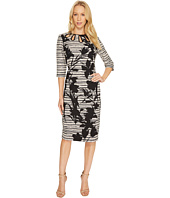 Christin Michaels - Rachelle 3/4 Sleeve Printed Dress with Neck Detail