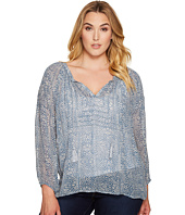 Lucky Brand - Plus Size Blue Maze Peasant Top