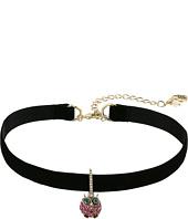 Betsey Johnson - Pave Owl Charm Choker Necklace
