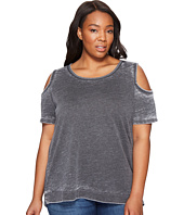 Allen Allen - Plus Size Short Sleeve Cold Shoulder Crew Top