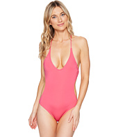 Vince Camuto - Hardware Plunge Strappy Back One-Piece Swimsuit