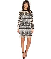 Nicole Miller - Soutache Sweater Crew Neck Long Sleeve Dress