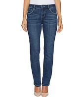 Jag Jeans Petite - Petite Adrian Straight Crosshatch Denim in Mid Vintage w/ Back Flap Pockets in Thorne Blue