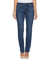 Jag Jeans Petite - Petite Adrian Straight Crosshatch Denim in Mid Vintage w/ Back Flap Pockets in Thorne Blue