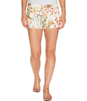 7 For All Mankind - Cut Off Shorts w/ Side Splits & Light Destroy in Tropical Print 2