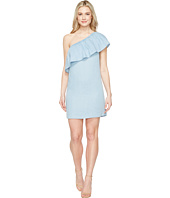 7 For All Mankind - One Shoulder Ruffled Denim Dress