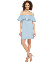 7 For All Mankind - Off the Shoulder Denim Dress w/ Released Hem in Cool Wave Blue