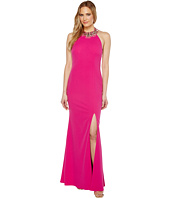 Adrianna Papell - Knit Crepe Beaded Neck Gown