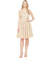 Adrianna Papell - Sleeveless Tea Length Beaded Dress