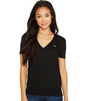 Lacoste - Short Sleeve Solid V-Neck Jersey Tee