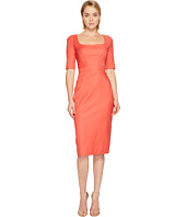 Zac Posen - Tropical Wool Short Sleeve Scoop Neck Dress