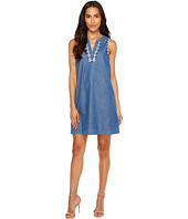 TWO by Vince Camuto - Sleeveless Emroidered Split Neck Denim Dress