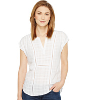 TWO by Vince Camuto - Gauze Stripe Split Neck Blouse with Faggoting
