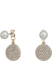 LAUREN Ralph Lauren - Fresh Water Pearl with Pave Disc Drop Earrings