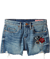 Blank NYC Kids - High-Rise Shorts w/ Embroidery in Blue (Big Kids)