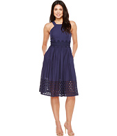 Vince Camuto - Cotton Eyelet Sleeveless Fit and Flare Midi Dress