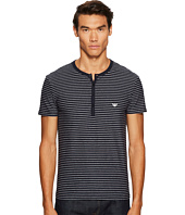 Emporio Armani - Yarn-Dyed Cotton Henley T-Shirt