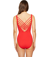 Letarte - Solid Lattice Back One-Piece