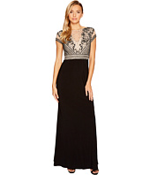 Adrianna Papell - Short Sleeve Beaded Top and Jersey Skirt Dress