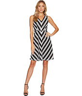 Adrianna Papell - Striped Fit and Flare Lace Dress