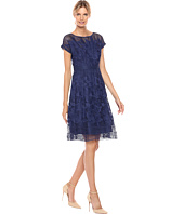 Adrianna Papell - Havana Gardens Lace Illusion Short Sleeve A-Line Dress