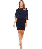 Adrianna Papell - Chiffon Cape Matte Jersey Sheath Dress