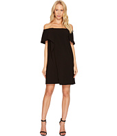 Halston Heritage - Short Sleeve Cold Shoulder Asymmetrical Drape Dress