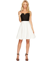 Halston Heritage - Sleeveless Geo Neck Color Block Silk Faille Dress
